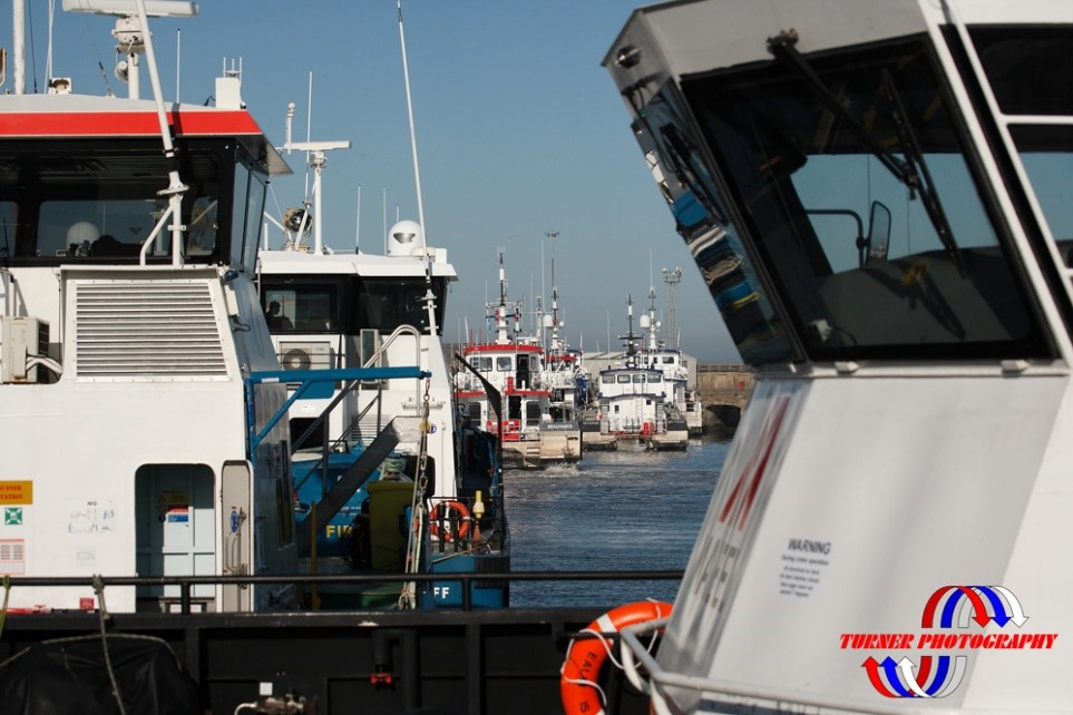 Crew transfer vessels in the Port of Lowestoft ©Turner Photography